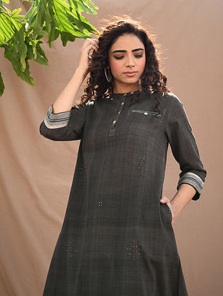 Black Natural Dyed Handloom Tangaliya Kurta