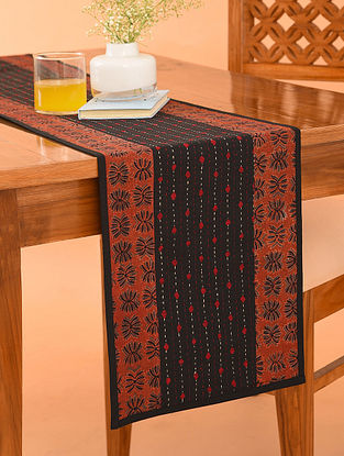 Multicolor Cotton Gudri Embroidered Ajrakh Printed Table Runner (L - 70in, W - 13in)