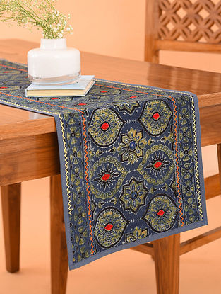 Multicolor Cotton Gudri Embroidered Ajrakh Printed Table Runner (L - 44in, W - 13.5in)
