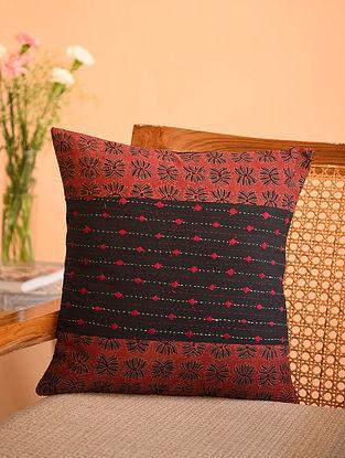 Multicolor Cotton Gudri Embroidered Ajrakh Printed Cushion Cover (L - 15.5in, W - 15.5in)