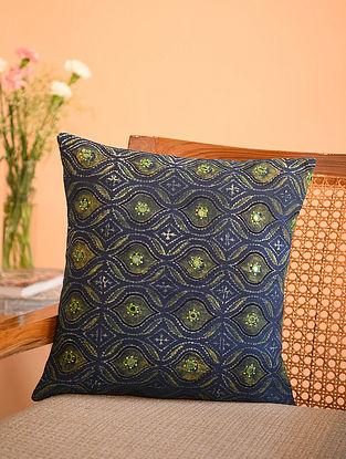 Multicolor Cotton Gudri Embroidered Mirror Work Ajrakh Printed Cushion Cover (L - 15.5in, W - 15.5in)