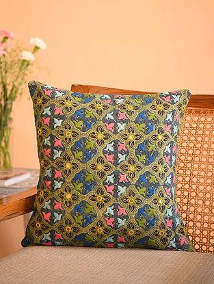 Multicolor Cotton Gudri Embroidered Mirror Work Ajrakh Printed Cushion Cover (L - 16in, W - 16in)