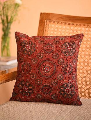 Multicolor Cotton Gudri Embroidered Mirror Work Ajrakh Printed Cushion Cover (L - 11.5in, W - 11.5in)