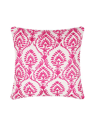 Pink and White Embroidered Cotton Cushion Cover (L-15.5in, W-15.5in)