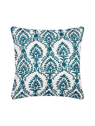 Teal Embroidered Cotton Cushion Cover (L-15.5in, W-15.5in)