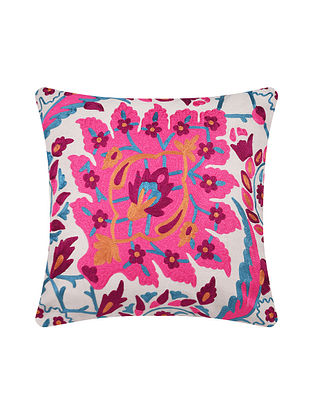 Multicolor Embroidered Cotton Cushion Cover (L-16in, W-16in)