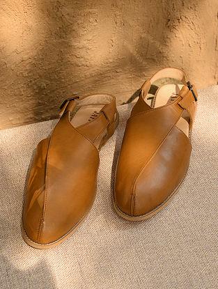 Tan Handcrafted Genuine Leather Peshawari for Men
