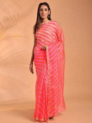 Pink Leheriya Kota Silk Saree