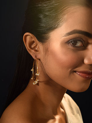 Gold Tone Handcrafted Hoop Earrings With Pearls