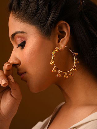 Gold Tone Handcrafted Hoop Earrings