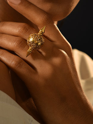 Gold Tone Temple Adjustable Ring