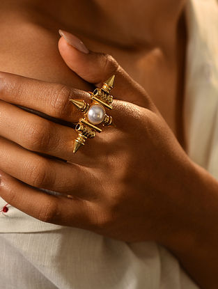 Gold Tone Temple Adjustable Ring With Pearl