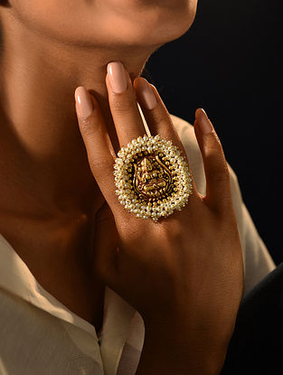 Gold Tone Temple Adjustable Ring With Pearls