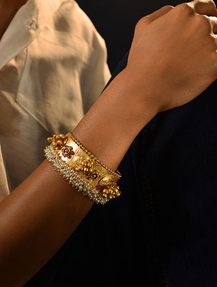 Gold Tone Handcrafted Cuff With Pearls