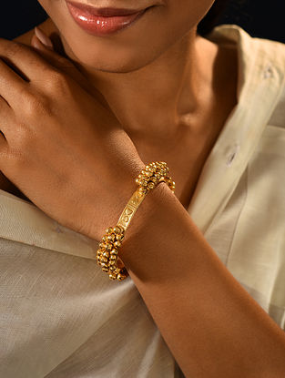 Gold Tone Handcrafted Openable Bangle (Bangle Size-2/4)