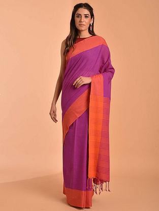 Purple Handloom Cotton Saree