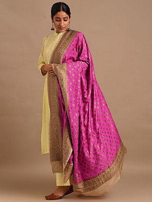 Pink Muga Silk Handloom Dupatta