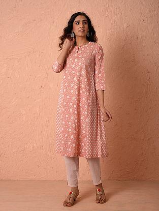 Pink Block Printed Cotton Kurta