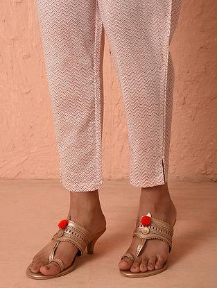 White-Pink Elasticated Waist Block Printed Cotton Pants