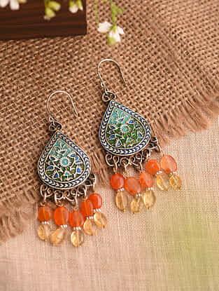 Blue Enameled Vintage Afghan Silver Earrings