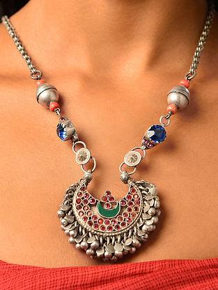 Blue Enameled Vintage Afghan Silver Pendant