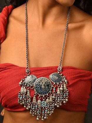 Blue Enameled Vintage Afghan Silver Necklace