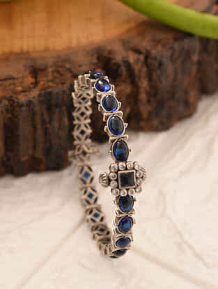 Blue Temple Silver Openable Bangle (Size:2/3)