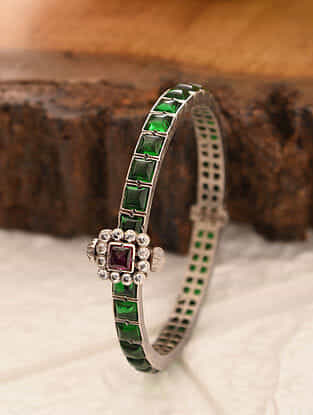 Maroon Green Temple Silver Openable Bangle (Size: 2/4)