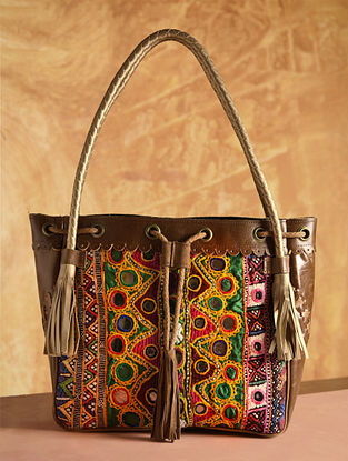 Multicolored Vintage Rabari Genuine Leather Tote Bag