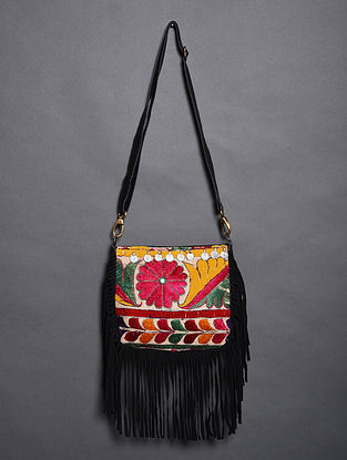 Multicolored Vintage Rabari Genuine Leather Sling Bag