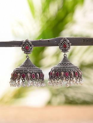 Pink Silver Tone Tribal Jhumki Earrings With Pearls