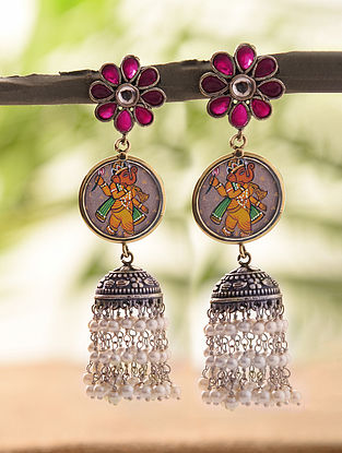 Multicolored Silver Tone Jhumki Earrings With Pearls