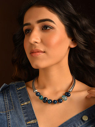 Blue Silver Tone Tribal Necklace