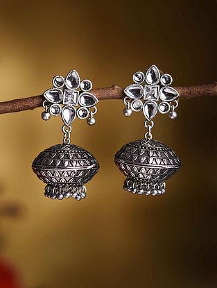 Silver Tone Tribal Kundan Inspired Earrings