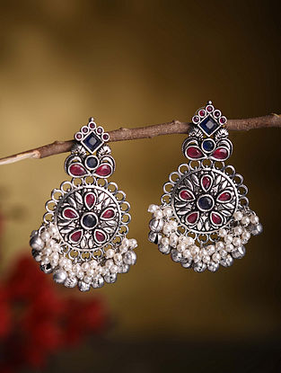 Red Blue Silver Tone Tribal Earrings With Pearls
