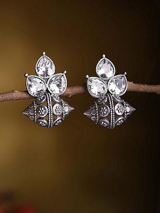 White Silver Tone Tribal Earrings