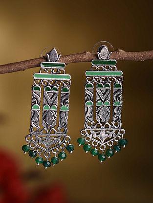 Green Silver Tone Tribal Earrings
