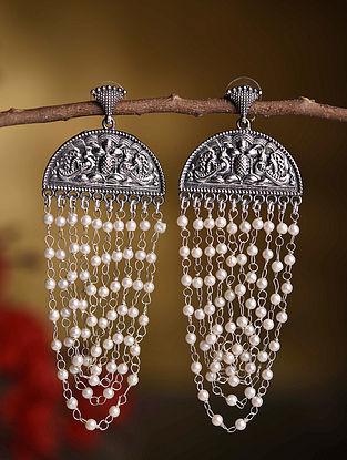 Silver Tone Tribal Beaded Earrings