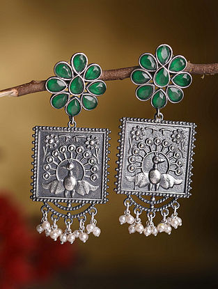 Green Silver Tone Tribal Earrings with Pearls
