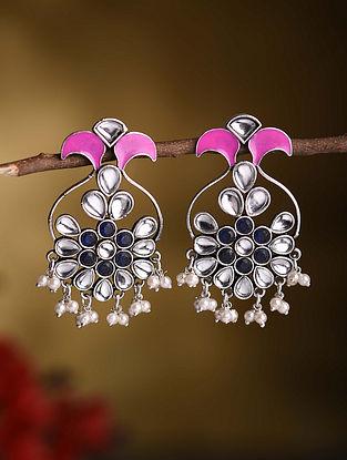 Pink Blue Silver Tone Tribal Kundan Inspired Earrings