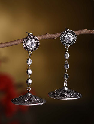White Silver Tone Tribal Earrings With Pearls