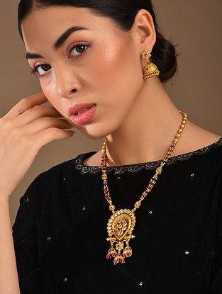 Pink Green Gold Tone Kundan Necklace With Jhumki Earrings