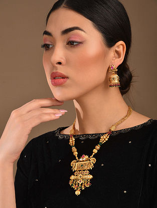 Pink Green Gold Tone Temple Work Necklace With Earrings