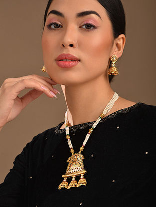 White Gold Tone Kundan Necklace With Jhumki Earrings