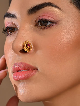 Red Gold Tone Temple Work Nose Clip