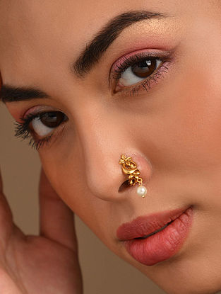 Gold Tone Temple Work Nose Clip With Pearls