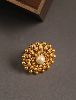 Gold Tone Temple Work Adjustable Ring With Pearl