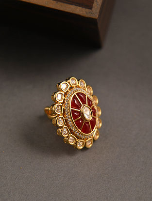 Red Gold Tone Kundan Ring
