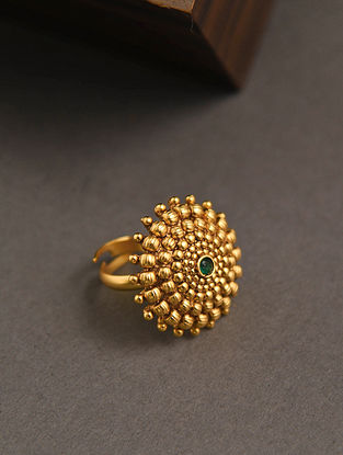 Green Gold Tone Temple Work Adjustable Ring