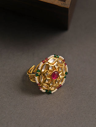 Green Pink Gold Tone Kundan Ring